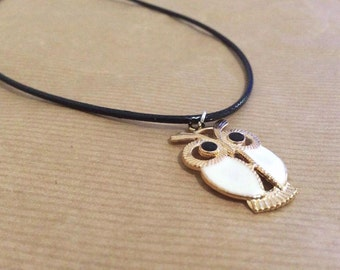 White Owl Charm necklace