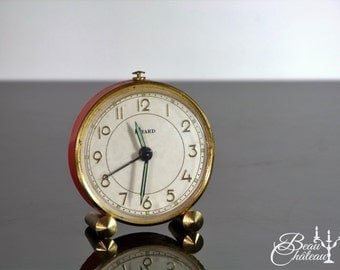 VINTAGE BAYARD French Alarm Clock. Pretty Bedside Clock in Persimmon Red / Pink / Orange and Gold. Mechanical wind up.