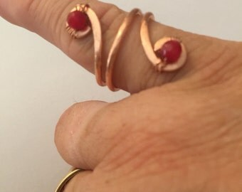 Copper and ruby ring