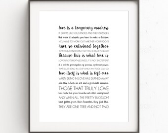 INSTANT DOWNLOAD - Love is a Temporary Madness - Typography Print - Wall Art - Wedding Gift - Printable Art - Anniversary Gift - Art Print