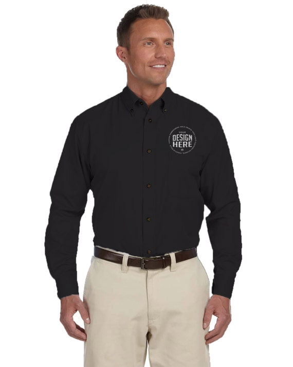 Custom embroidered long sleeve dress shirt personalize button for Custom long sleeve button down shirts