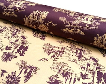 Fabric jacquard REVERSIBLE - Saint Germain des Prés Eggplant - editor French JULES PANSU - Dimension for 1 quantity: 50cmX145cm