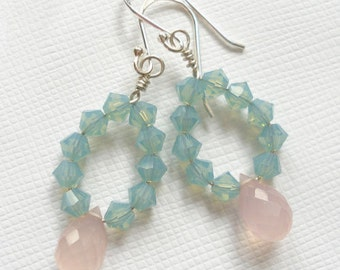 Swarovski Crystal & Pink Chalcedony earrings - OOAK