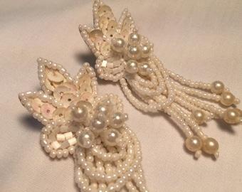 White Dangle Beaded earrings, 1950's