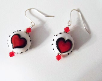 White and Red Lampwork Heart Beaded Earrings Swarovski® Crystals and Sterling Silver Earrings