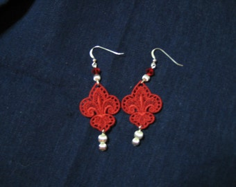 Lace Jewelry, Red Fleur de Lis Dangle Earrings with Swarovski Red Bead &  3 Fluted Metal Beads; Machine Embroidery Lace Earrings  - Sterling