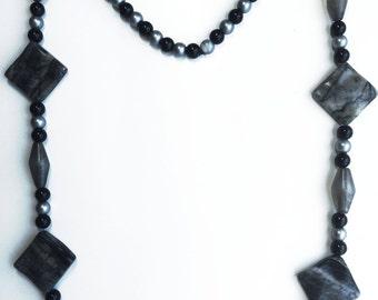 Black & Silver Bead Necklace