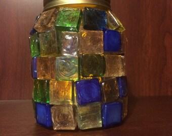 Mosaic mason jar candle