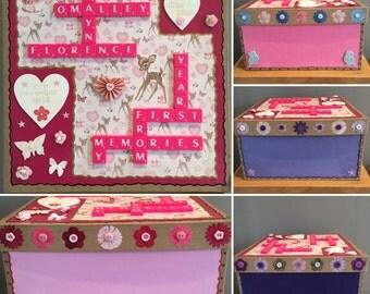 Bespoke Letterart handmade paper mache baby memory boxes