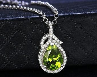Peridot 925 Silver Luxury necklace (Peridot - August Birthstone)