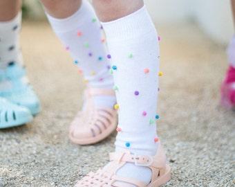 Pom Pom Knee High Socks