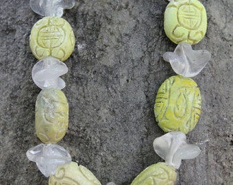 Glass Bead & Carved Soapstone Necklace