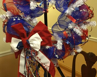"24"" Patriotic Deco Mesh Wreath"