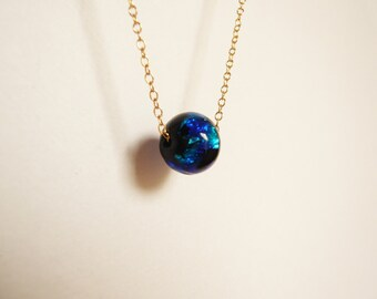 Lamp work beads,Necklace,14KGF,Goldfilled ,Gift,Deep blue