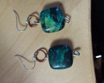 Beautiful blue and green stone earrings