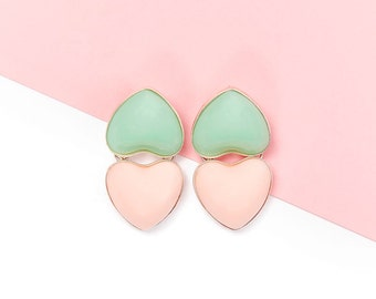 Green and Pink Hearts earrings