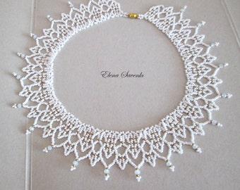 necklace   Колье из бисера Прелесть.Бисерное кружево.necklace Beaded collar