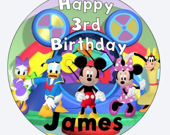 Mickey Mouse Inspired Birthday Edible Image Cake Topper,Round,8in Cake,Custom/Personalized
