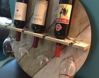 Rustic wine and glass rack