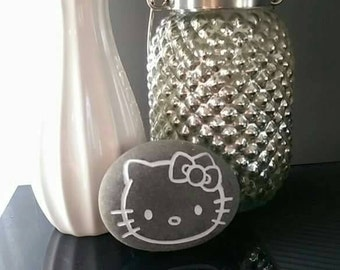 Engraved Hello Kitty River Rock