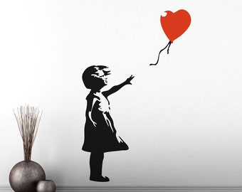 Banksy 'Childhood' Red Balloon Girl Vinyl Wall Decal / Sticker