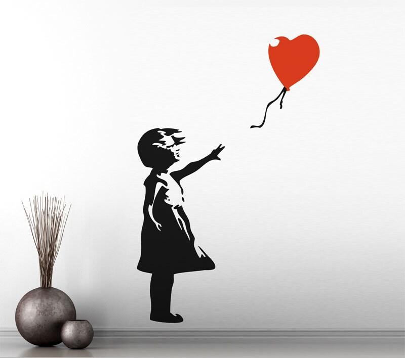 Lenfance banksy ballon rouge fille vinyl sticker mural - Wandtattoo ballon ...