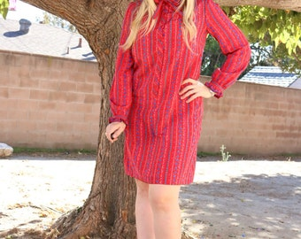 Vintage red floral stripe dress