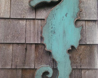 New England Inspired Primitive Wood Seahorse Nautical Decor ...Available as a BlackBoard also!