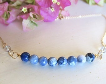 Handmade Wire wrapping Necklace with Sodalite stone and Swarovski beads, all occasions 122