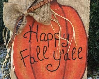 Pumpkin Happy Fall Y'all Garden Flag