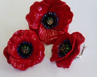 Poppy, ring and earrings