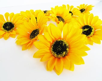 "25 Sunflowers Artificial Silk Flowers Big Yellow Sunflowers brown center measuring 4.1"" Floral Hair Accessories Flower Supplies Faux Fake"