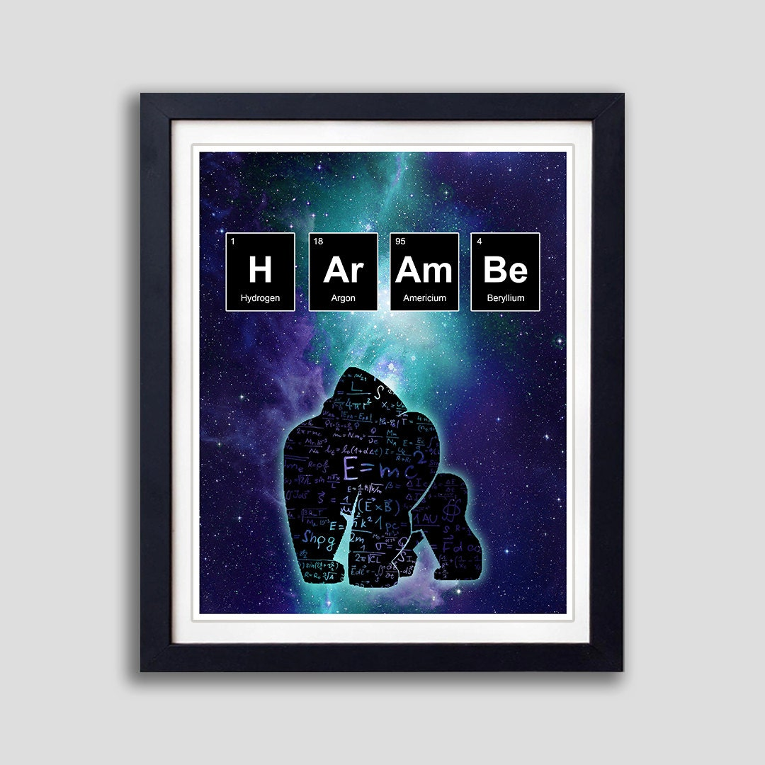 Harambe periodic table poster harambe elements poster rip zoom gamestrikefo Image collections
