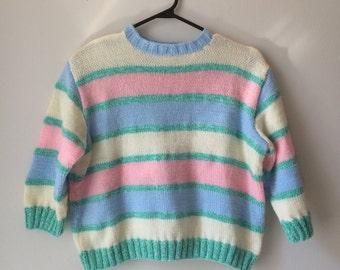 Pastel stripe crop sweater, 70s, cute, kitschy, elbow length sleeves, S-M. *vintage*