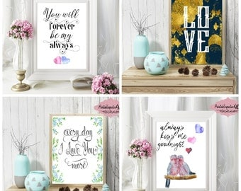 Love Quotes, Set of 4 Love Prints, Printable Quotes About Love, Printable Art Set, Love Quotes Bundle, Love Wall Art, Love Quote Signs, 8x10