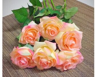 10Pcs Real Touch Peach Artificial Rose Flower for Wedding Party or Home Decoration - DIY Bouquet Table Centerpiece Flower Arrangement