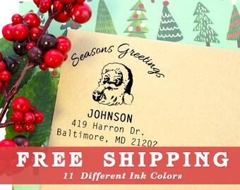 Vintage Santa Return Address Stamp, Wood Engraved or Self-Inking Stamp Style, Free Shipping