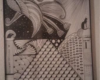 Egyptian inspired zentangle