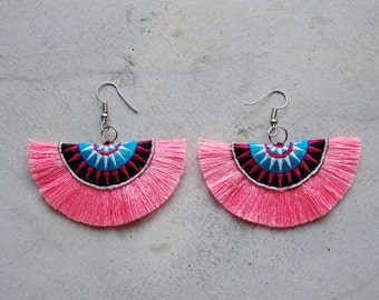 Baby Pink Half Moon Tassel Earrings with Hmong Embroidery
