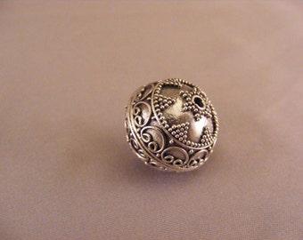 Sterling Silver Round Handmade Bali Bead