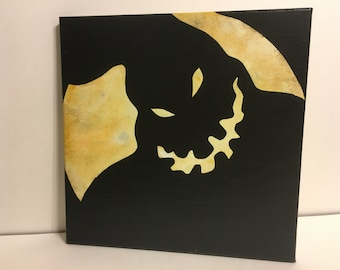 """Clearance - """"Shadow on the Moon"""" - Painted Canvas Inspired by Tim Burton's The Nightmare Before Christmas"""