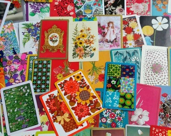 Vintage swap/playing cards.  Great for craft or collecting.  Flower theme.  50+
