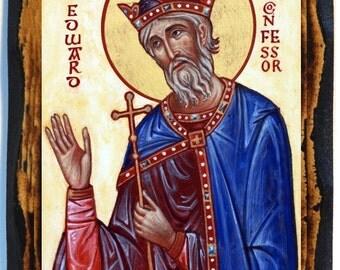 Saint Edward the Confessor Christian Icon on Wood