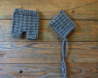 SALE - Waffle Knit Baby Hat and Shorts - Grey