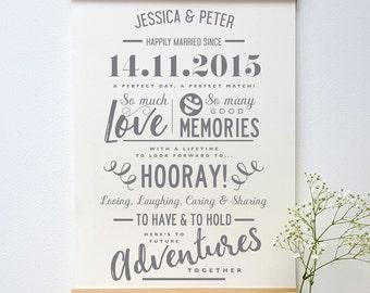 Personalised Paper Anniversary Typogrpahic Print