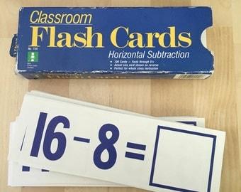 Vintage Classroom Flashcards Subtraction