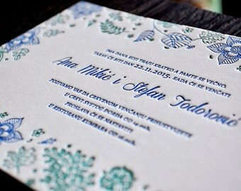 Letterpress Wedding Invitations - Floral