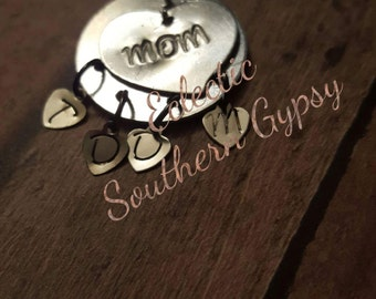 Mom necklace charm with initials