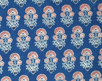 Blue Sanaganeri Hand Block Printed Cotton Fabric