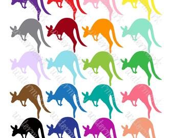 Bright kangaroo digital clipart, Wallaby silhouettes Safari clip art. Instant Download for Scrapbooking